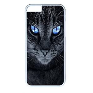 White Hard Plastic Case Cover For iPhone 6 Plus Durable PC Shell Skin For iPhone 6 Plus With Blue Eyes Cat
