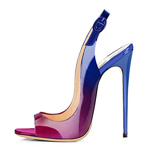 onlymaker Women's Peep Toe Slingback High Heel Pumps Stilettos Sandals Purple and Blue cheap big sale buy cheap high quality outlet get authentic h6iIGIV