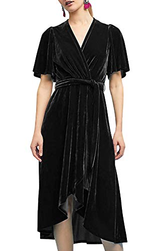 R.Vivimos Womens Velvet Pleated Wrap Tie Waist Elegant Flowy Party Plus Size Midi Dresses (XXL, Black)