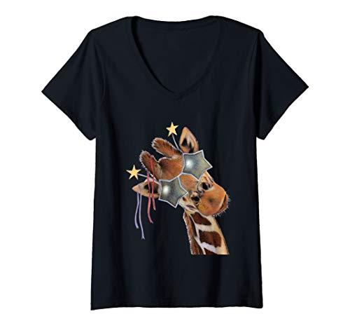Womens Good Time Giraffe Wearing Star Sunglasses Party Animal V-Neck T-Shirt