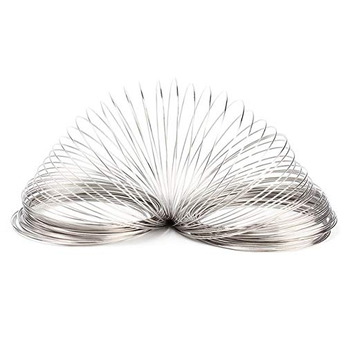 Memory Wire Plated Steel - Silver Wire Loops - 100 Loops Silver Round Plated Memory Beading Steel Wire For DIY Cuff Bangle Bracelet Jewelry DIY Craft Supplies 0.6mm