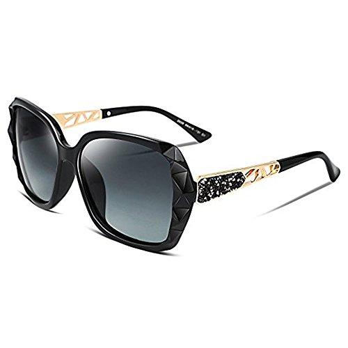 2018 Women Classic Oversized Polarized Sunglasses Fashion Modern Shades 100% UV Protection (Black/Grey) ()