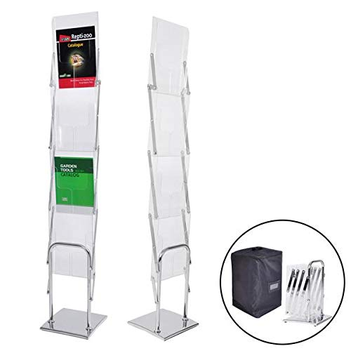 Collapsible Literature Stand Brochure Rack 4 Pocket w/Bag