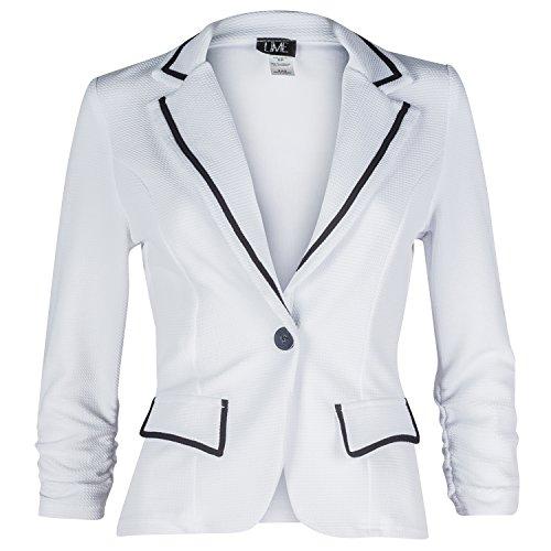 Trim Knit Jacket (Contenta Women's Texture Knit Long Sleeve Contrast Trim Blazer Jacket. (medium, white/black))