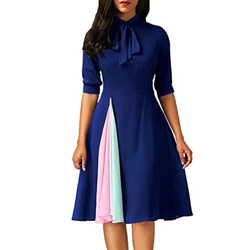 ❤️ Vestidos de Fiesta Mujer,Modaworld Vestido Casual de Manga Larga para Mujer Vestido de Fiesta de Noche para Mujeres Elegante Ropa de Cóctel Falda niña Vestir Azul