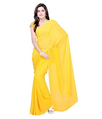 730f4d3e2 Sse Women s Faux Georgette Saree With Blouse Piece (Plain 01 Yellow)   Amazon.in  Clothing   Accessories