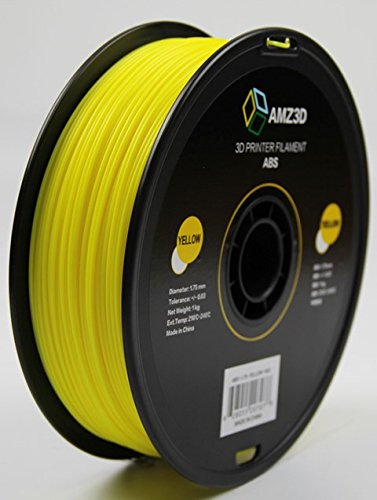 AMZ3D 1.75mm Yellow ABS 3D Printer Filament - 1kg Spool (2.2 lbs)