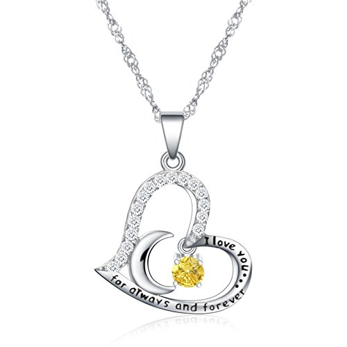 Birthstone Necklace Heart Necklace