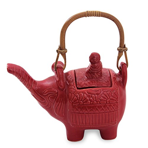 NOVICA East Meets West Ceramic Teapot, Red, 27 oz, 'Buddha And The Ruby Elephant'