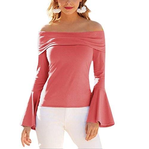 Bodycon Longue T L'paule Chemisier De Femmes Chemisier Shirts T Crayon vass Pink Solides Manches Shirts Basique w8xzqnPA