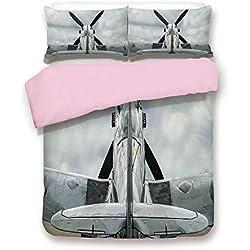 Pink Duvet Cover Set,King Size,Supermarine Spitfire Mk. XVI Battle Birds British Exhibition Museum Guns Weapon Dogfight Decorative,Decorative 3 Piece Bedding Set with 2 Pillow Sham,Best Gift For Girls