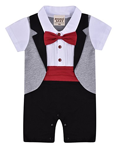 ZOEREA 1pc Baby Boys Tuxedo Gentleman Onesie Romper Jumpsuit Wedding Suit 3-18 Months