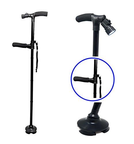 Flexible Tripod Flashlight - Premium Travel Lightweight Folding Walking Cane with LED Flashlight W/Non Slip Flexible Cane Tip & Extra Handle
