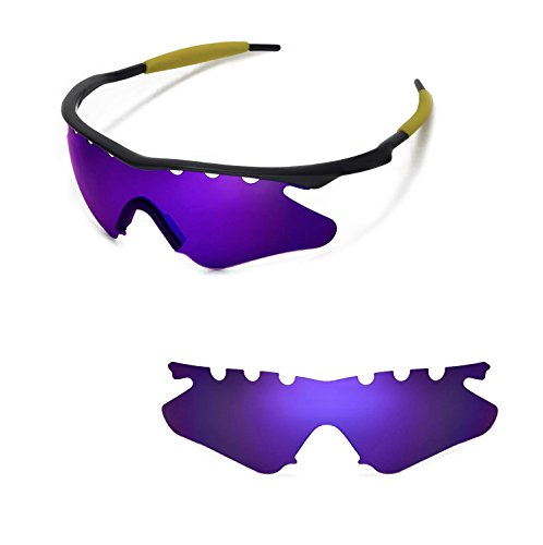 Walleva Vented Replacement Lenses Lenses Black Nosepad Oakley M Frame Heater Sunglasses - 21 Options Available (Purple - Polarized) -