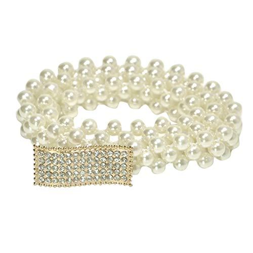 Shiny Waistband,Pearl Dress Belts Fashion Metal Dressy Rhinestone Decoration Skinny Waistband for Dress Women Party Dress Belt Chain (E)