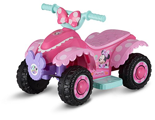 NEW! Disney Minnie Mouse Happy Helper 6-Volt Battery-Powered Quad Ride-On Toy for Girls with Wiping Cloth