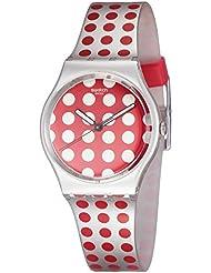 Swatch Red Flush Red Polka Dot Dial Folio Strap Unisex Watch GE240