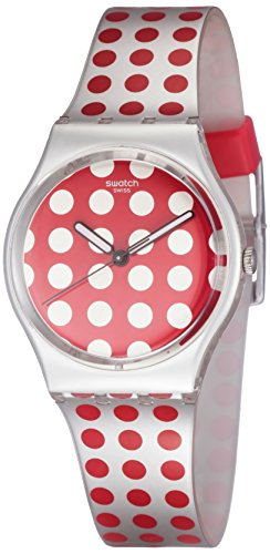 Swatch Red Flush Red Polka Dot Dial Folio Strap Unisex Watch GE240 - Folio Watch