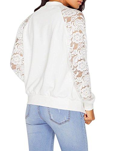 CRAVOG Chaquetas para Mujer de Casual Manga Largas de Impresion Jacket Outwear Blanco