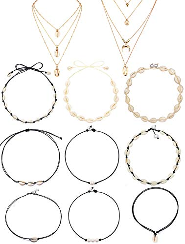 CARSHIER 11 PCS Bohemian Sea Shell Choker Necklaces for Women Girls Boho Handmade Hawaii Pearl Beach Goth Choker Necklace Set ()