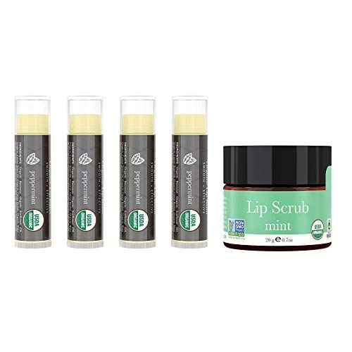 Lip Balm and Scrub Bundle - 4 Pack of Peppermint Flavored Lip Moisturizer with Mint Exfoliating Sugar Scrub, Best Gift for Stocking Stuffer, Birthday or Present for Women and Girls, USDA Organic