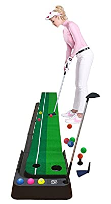 Macro Giant Golf Putting Mat Set, 12 Colorful PU Soft Balls, 2 Clubs, 3M Mat, Automatic Ball Return Feature