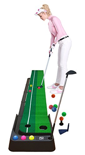 Macro Giant Golf Putting Mat Set, 12 Colorful PU Soft Balls, 2 Clubs, 3M Mat, Automatic Ball Return Feature - Giants Putting Green
