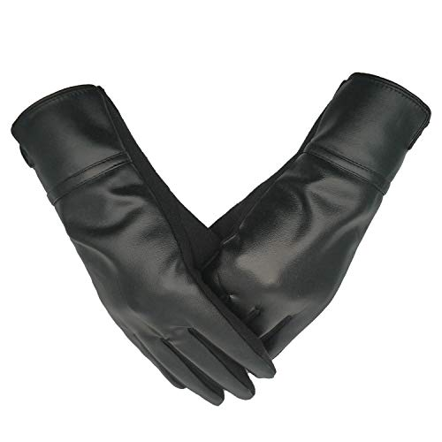 0f52cb571369e Women Leather Gloves Winter Touchscreen Warm Plain Gloves- Touch screen  Texting for Phone (black