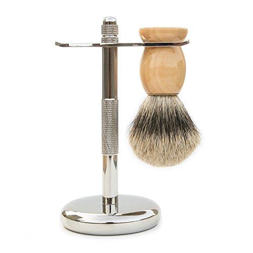 Badger Shave brush & Razor holder 2Pack Set, River Lake S101_A 100% Natural Badger Hair Shaving Brush and Deluxe Chrome Razor Stand Shaving Set, - Heavy Holder , Soft Brush - Perfect for shaving by River Lake