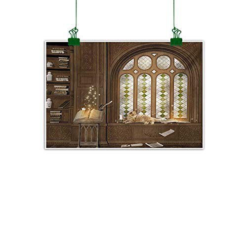 Unpremoon Gothic,Oil Painting Room for Study in The Medieval Library with Cat Sleeping on The Window Antique Mansion Wall Decor for Home Office Decorations Taupe W 40