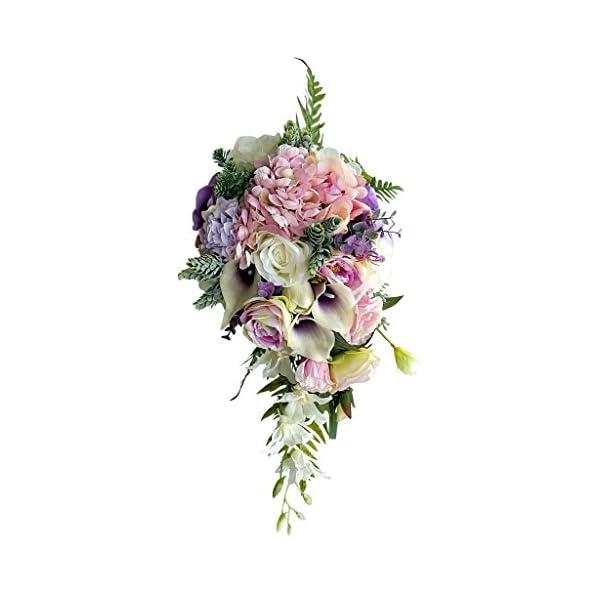 MonkeyJack Vintage Waterfall Style Bridal Bouquet Artificial Hand Flower Wedding Prom Decoration