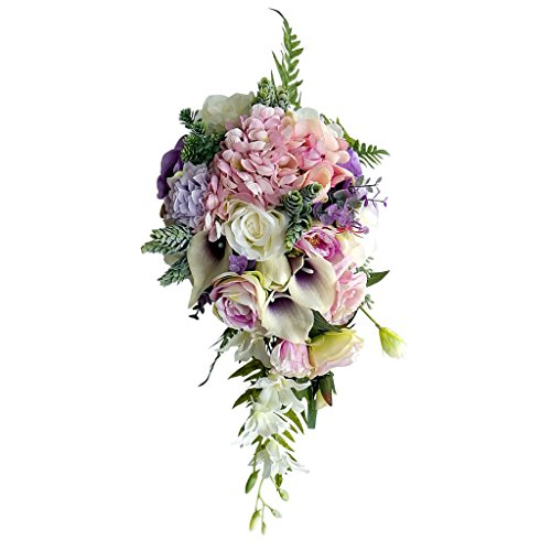 MonkeyJack Vintage Waterfall Style Bridal Bouquet Artificial Hand Flower Wedding Prom Decoration