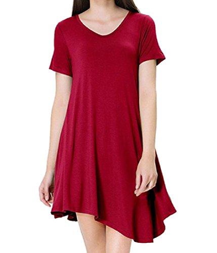 shirt Rosso Con donne Manica Magliette Coolred Vestito Solido Corta T Irregolari xnqFBwn0