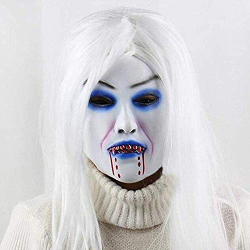 FishMM Scary Halloween Ghost Devil Horror Witch Vampire Masks with White Wigs -