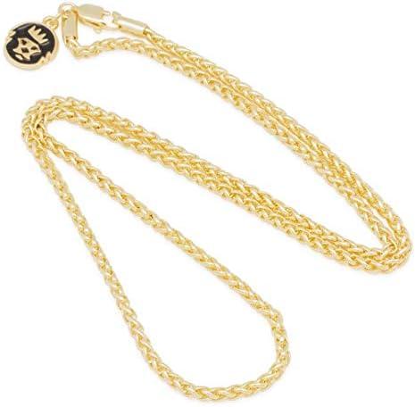 キングアイス ネックレス ゴールドチェーン Wheat Chain 14金コーティング 60cm×3mm GOLD