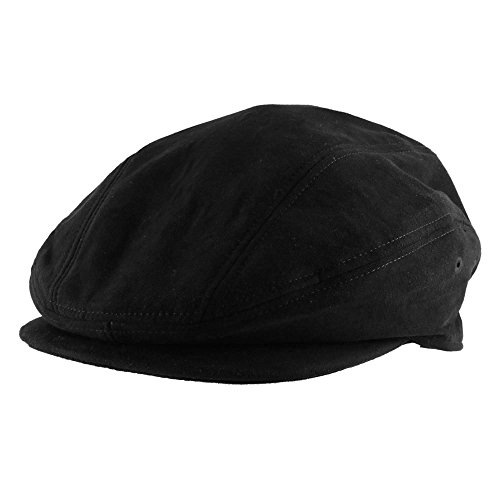 Morehats Suede Warm Newsboy Cap Gatsby Golf Irish Hunting Hat - Black (L)