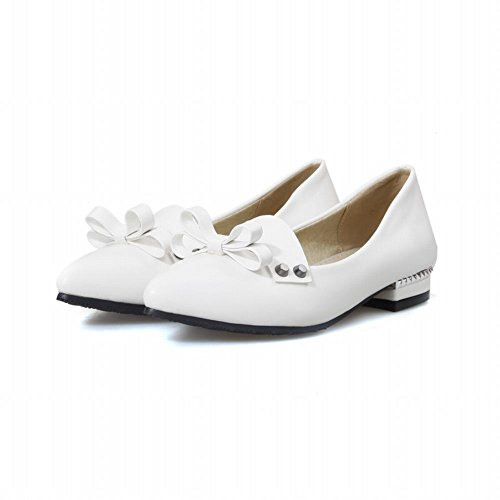 Latasa Womens Fashion Bow Pointed-toe Low Chunky Heel Casual Pumps White l03uVO