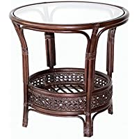 Pelangi Coffee Round Table Natural Rattan Wicker with Glass Top Handmade, Dark Brown
