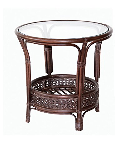 Pelangi Coffee Round Table Natural Rattan Wicker with Glass Top Handmade, Dark Brown Review