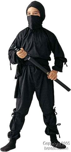 RG Costumes Ninja Costume, Child Medium/Size 8-10 - Child Black Ninja Costumes