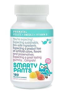 SmartyPants Prenatal Gummy Vitamins Multivitamin Plus Folate, Omega 3s and Vitamin D3, 180 Count