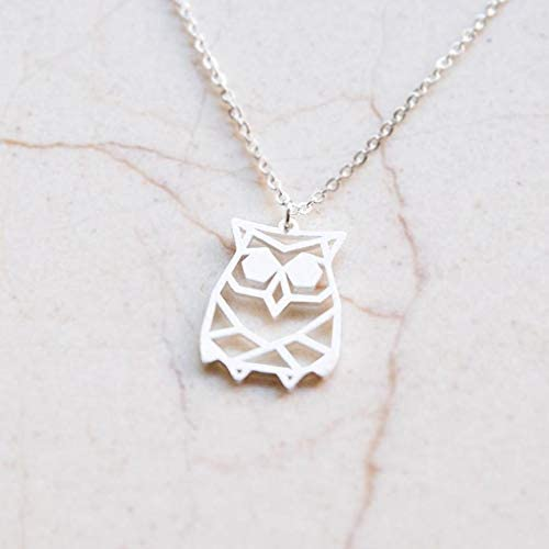 Owl Necklace for Girls /& Origami Necklace 925 Sterling Plated Silver Necklace /& Owl Necklaces for Women La Menagerie Owl Silver Origami Jewelry /& Silver Geometric Necklace
