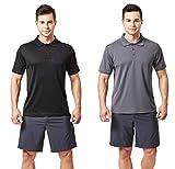 TEXFIT Men's 2-Pack Quick Dry Polo Shirt (2 pcs Set) (Black/Dark Grey, XL)