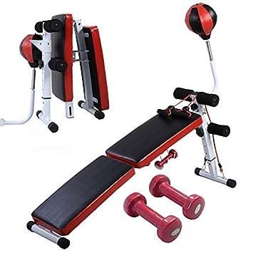 Banco para abdominales de Costway para tabla de ejercicios, bola de boxeo, mancuernas y cuerdas para entrenar: Amazon.es: Deportes y aire libre