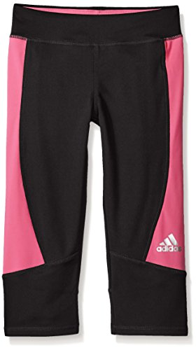 adidas Big Girls' Capri Legging Pant, Black/Shock Pink, Medium/10-12