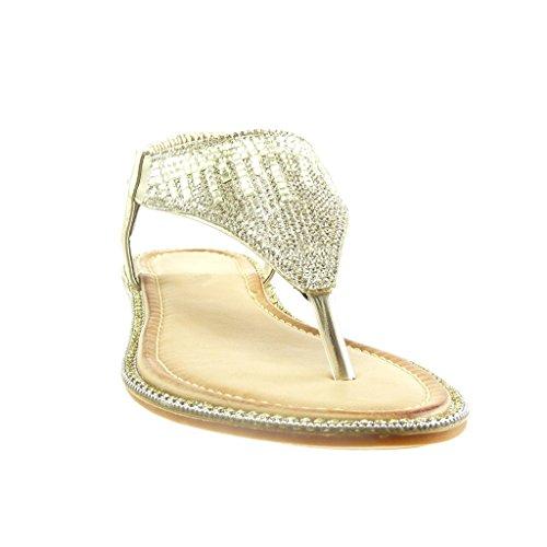 Angkorly - Chaussure Mode Sandale slip-on ouverte femme bijoux strass diamant Talon plat 1 CM - Or