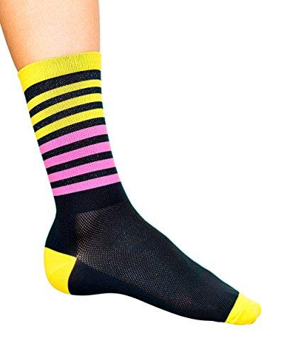 Cosmic Socks 6'' Bumble Gum, Cycling Socks size 6-11,Blue, Orange, Pink, Yellow, Black by Cosmic Socks