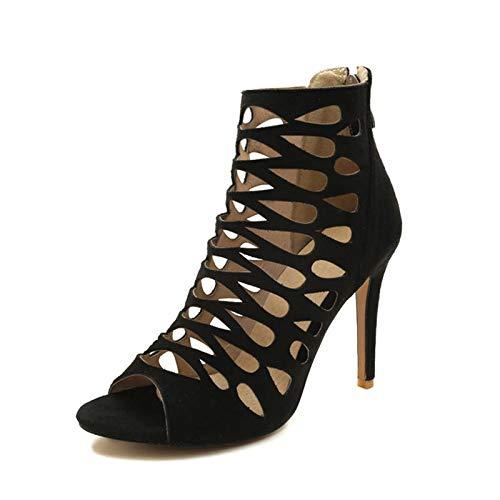 Zapatos 2018 Toe Black Mujer Hoesczs Tacones Tamaño Altos Botas 44 Peep Verano Moda Grande 32 Huecos Para De Estilo qUBvwxBd4
