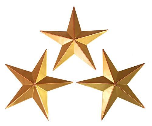 Bellaa 23561 Western Star Metal Wall Decor Texas Barn Set 3 Gold 12