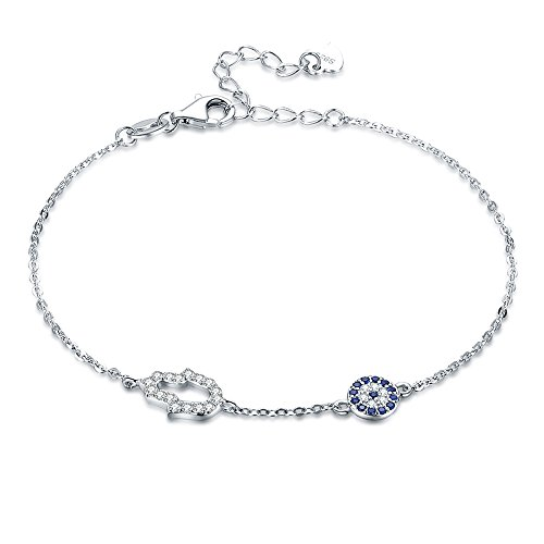 (TONGZHE Blue Evil Eye Hamsa Hand Bracelet in Sterling Silver 925 with Cubic Zirconia CZ and 7